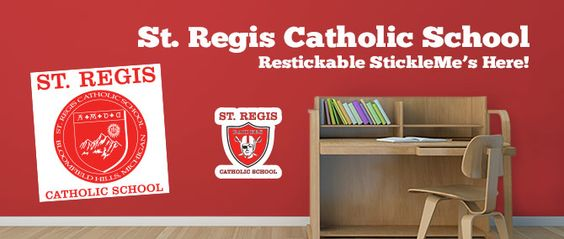 Turn your School logo or any image into a restickable wall graphic #WallGraphics #Logo #SchoolLogo #Design #RestickableSticker #SchoolSports #School