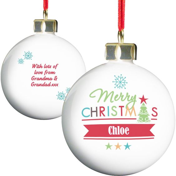 Personalise this Bright Merry Christmas Bauble with a name up to 12 characters on the front.  #ChristmasGifts