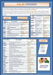English teaching worksheets: False friends