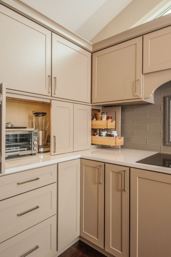beige küchenzeile elektrogeräte verstecken schranktueren Küche
