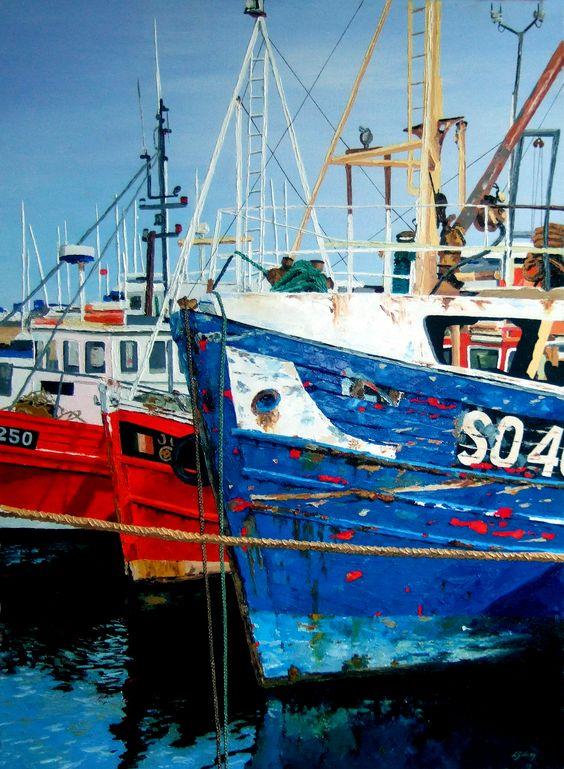 Dublin Trawlers, oil on canvas. Laura Gibney.