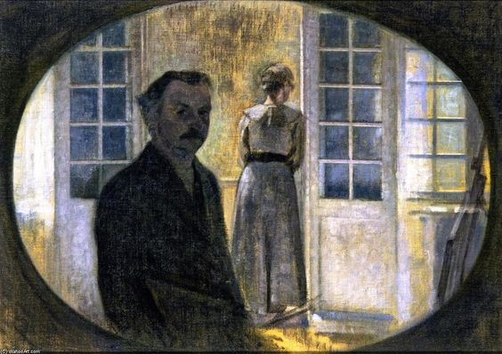 """""""Double portrait de l artiste et de sa femme, vue à travers un miroir, le Spurveskjul Cottage"""", 1911 - huile sur toile de Vilhelm Hammershøj (1864-1916)"""