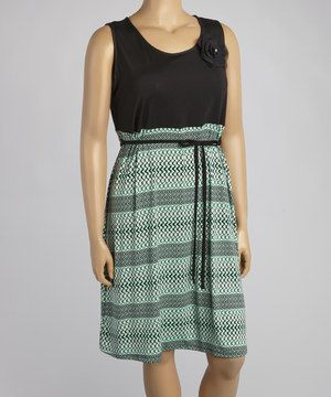 Loving this Mint Stripe Tie-Waist Sleeveless Dress - Plus on #zulily! #zulilyfinds