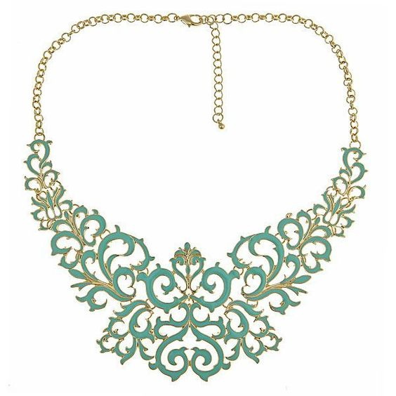 """An ornate piece of jewelryAqua Enamel and metal bib necklace17"""" Long ( 2-1/2"""" extension)2-1/2"""" WideLobster claw closure"""