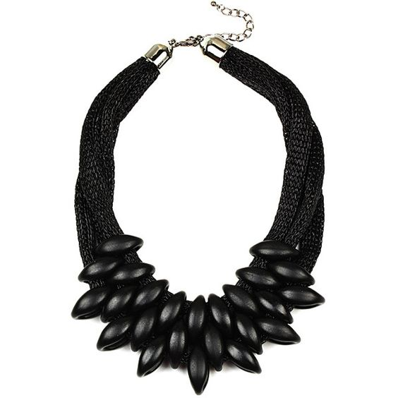 Eye Candy LA Black Noir Leaf Bib Necklace ($25) ❤ liked on Polyvore featuring jewelry, necklaces, leaves necklace, leaf jewelry, bib collar necklace, collar jewelry and layered necklace