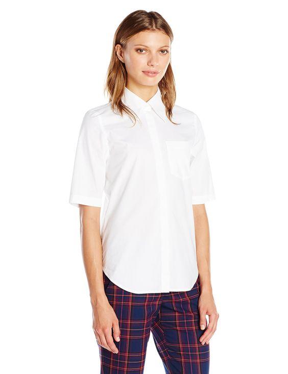 Trina Turk Women's Svelte Elbow Sleeve Button up Shirt, White, Large. 3/4 sleeve. Button down.