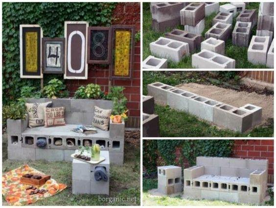 Banco realizado con bloques de cemento mueble mobiliario for Bloques cemento para jardin
