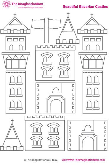 Build you own imaginary castle, free PDF printable activity sheet: