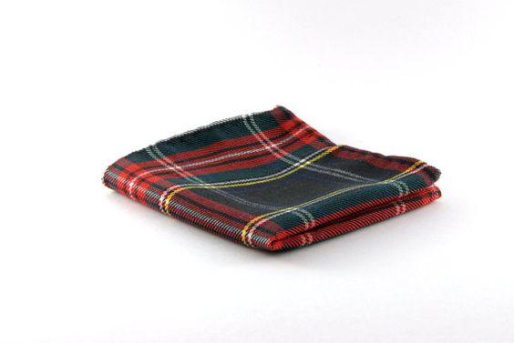 Pochette costume tissu tartan écossais, cadeau homme, cadeau fête des pères…