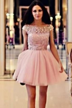 $149-Capped Sleeves Pink Crystals Homecoming Dresses Short Puffy ...