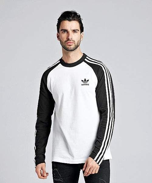 adidas 3-Stripes Long Sleeved T-Shirt   Long sleeve tshirt men ...