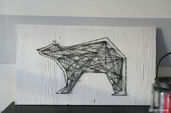 diy un tableau d 39 ours avec de la laine et des clous belle art filaire et ours. Black Bedroom Furniture Sets. Home Design Ideas