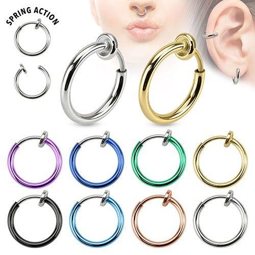 Lip, Ears, Nose No Holes Fake Non Piercing Spring Hoops Clip On