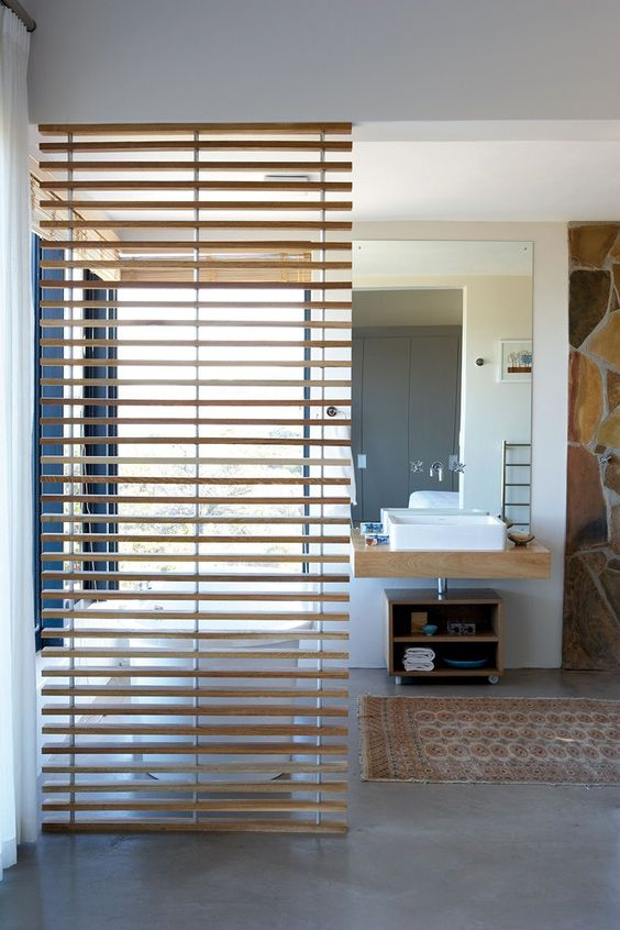 The Slatted Wooden Room Divider In The Bathroom In The Honeymoon Suite Was Ma