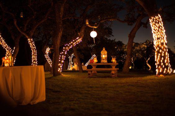 wedding venue with tree lights