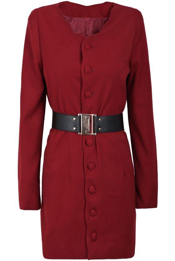 Chaqueta botonadura cinturón manga larga-Rojo EUR€29.09