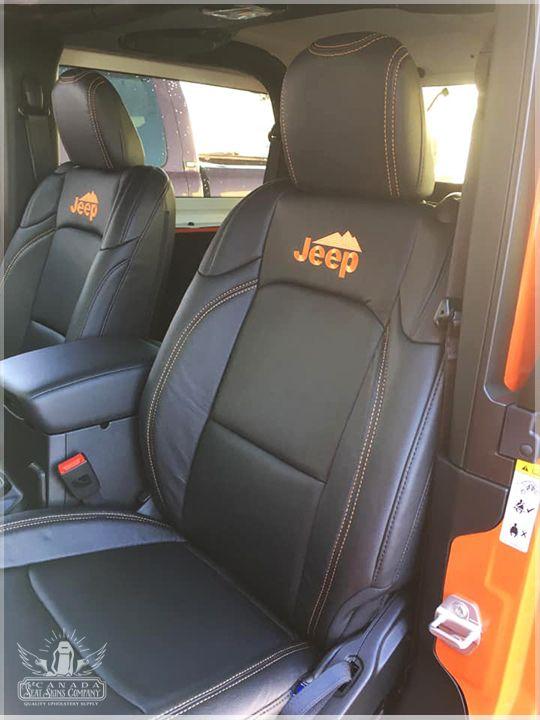 2019 Jeep Wrangler Jl Custom Seat Upholstery Jeep Interiors Jeep Wrangler Accessories Orange Jeep