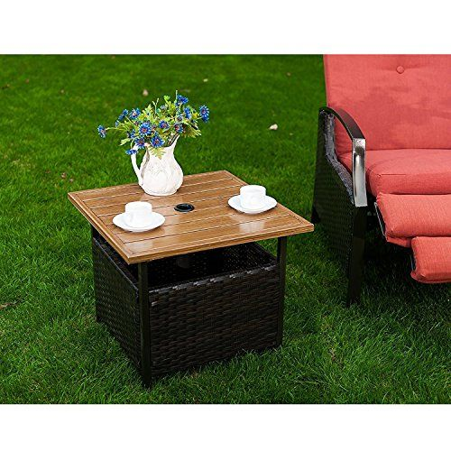 Naturefun Outdoor Pe Wicker Square Bistro Side Table Garden Leisure Coffee Table With Umbrella Hole