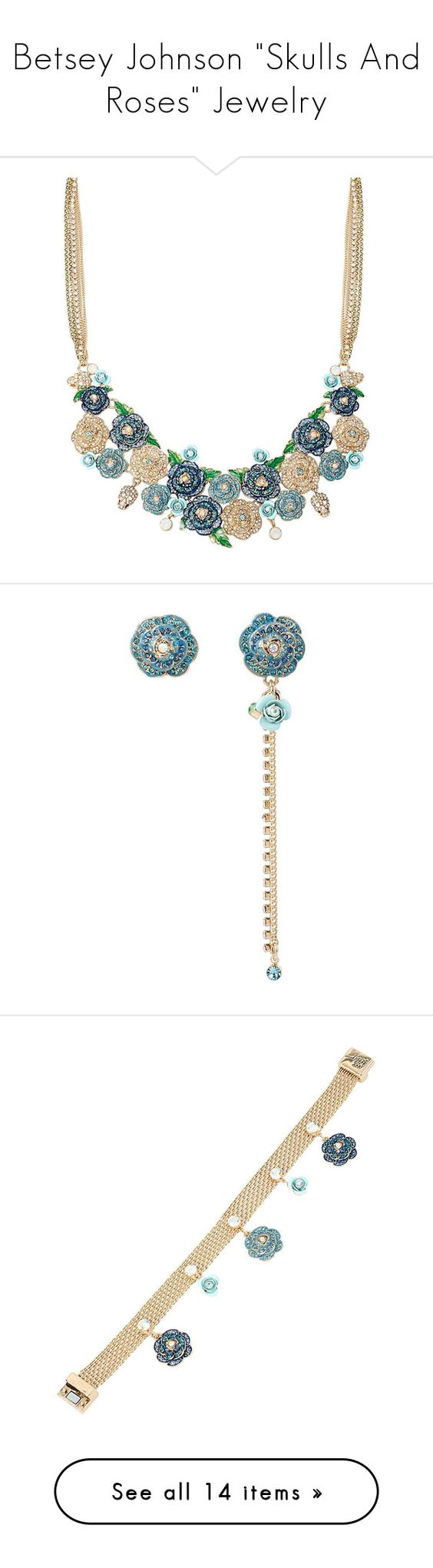 """""""Betsey Johnson """"Skulls And Roses"""" Jewelry"""" by atomik-concia ❤ liked on Polyvore featuring jewelry, necklaces, multi, skull jewelry, rose flower jewelry, multi-chain necklace, rose flower necklace, sparkly necklace, earrings and pave jewelry"""