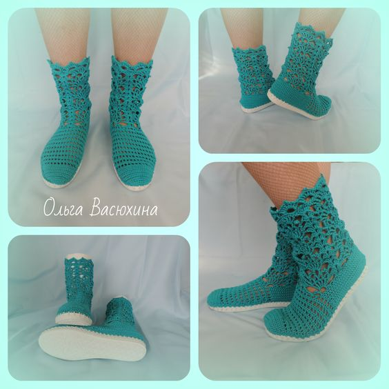 Boots crocheted, knitted boots.