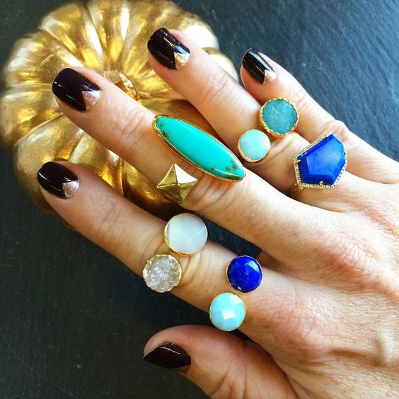Janna Conner Lapis, Turquoise, Crystal Druzy, and Mother of Pearl Rings! Spring '15 Preview.