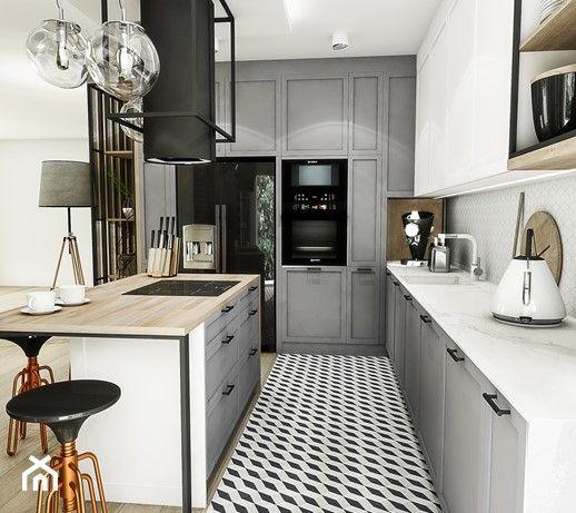 Projekt Kuchni Wroclaw 2019 Srednia Otwarta Szara Kuchnia W Ksztalcie Litery L W Aneksie Z Wyspa Styl Vintage Zdjecie In 2020 Kitchen Cabinets Home Decor Kitchen