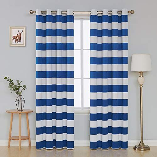 Ebay Sponsored Deconovo Striped Blackout Curtains Grommet Nautical Thermal Insulated Curtains X Insulated Curtains Grommet Curtains Curtains