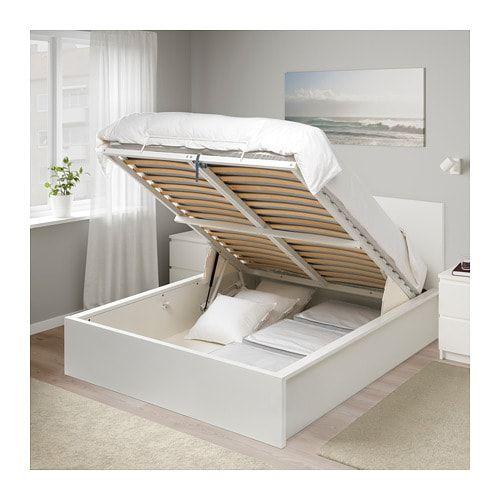 Malm Cadre Lit Coffre Plaque Chene Blanchi 160x200 Cm Ikea Malm Bed Ikea Malm Bed Malm Bed Frame