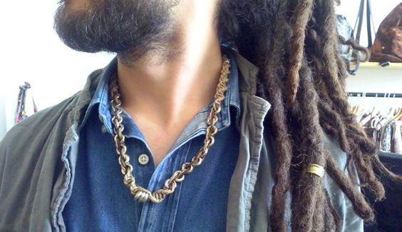 Collana di spago, cuoio e metallo - #Frida #Creazioni