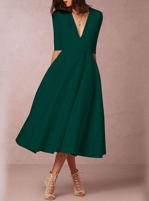 A Line Fall Dresses,A-Line Dresses for Women,Green A-Line Dresses,green dresses for women,a line dresses for women,