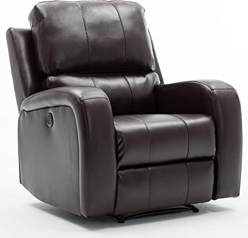 Amazing Offer On Bonzy Home Power Recliner Chair Air Leather Overstuffed Electric Faux Leather Recliner Usb Charge Port Home Theater Seating Bedroom Li In 2020 Recliner Chair