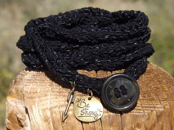 Crochet Wrap Bracelet, Black w/Charms and Button Closure, Women's Ladies Girls #Wrap