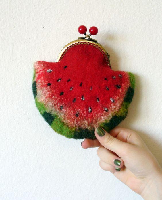 Wet Felted Watermelon coin purse - we LOVE this!! Such a cute shop :):