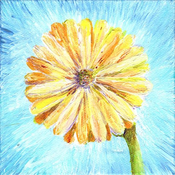 ARTFINDER: Yellow Daisy Miniature by Regina  Valluzzi - Acrylic on canvas miniature, original handpainted and one of a kind.  4x4 inches