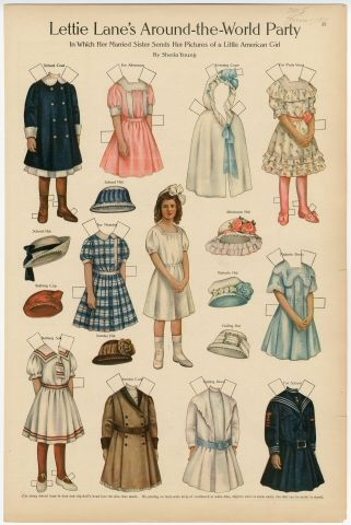 Lettie Lane's Around-the-World Party: Little American Girl paper doll 1911 Artist : Sheila Young
