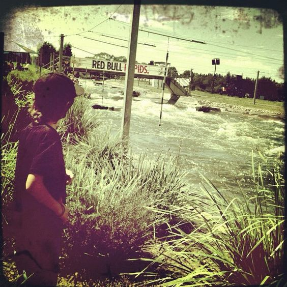 My son Morgan watching the #redbull rapids