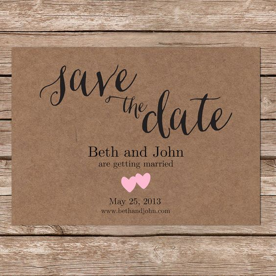 Rustic save the date cards printable save the date kraft save the date printable template for Rustic save the date templates free