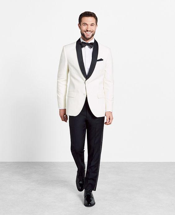 The Black Tux Contrast Shawl Jacket Tuxedo: http://www.stylemepretty.com/2016/07/25/wedding-groom-menswear-tuxedo-suit/