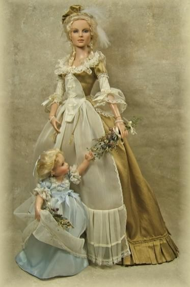 Marie Antoinette and Marie Therese Charlotte dolls, OOAK by Cheryl Crawford: