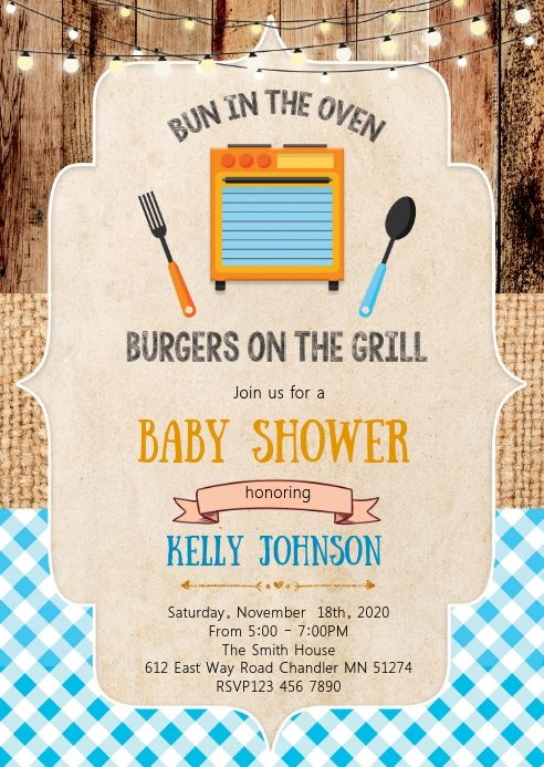 Bun In The Oven Baby BBQ BabyQ Shower Invitation Printable Uprint · Just  Click Print · Online Store Powered by Storenvy