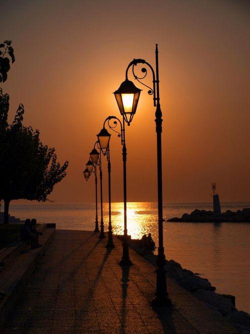 Sunset and the soft glow of the lanterns..beautiful photo