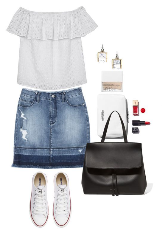 """""""Weekender"""" by lisa-holt ❤ liked on Polyvore featuring Bebe, Olive + Oak, Mansur Gavriel, Converse and NARS Cosmetics"""