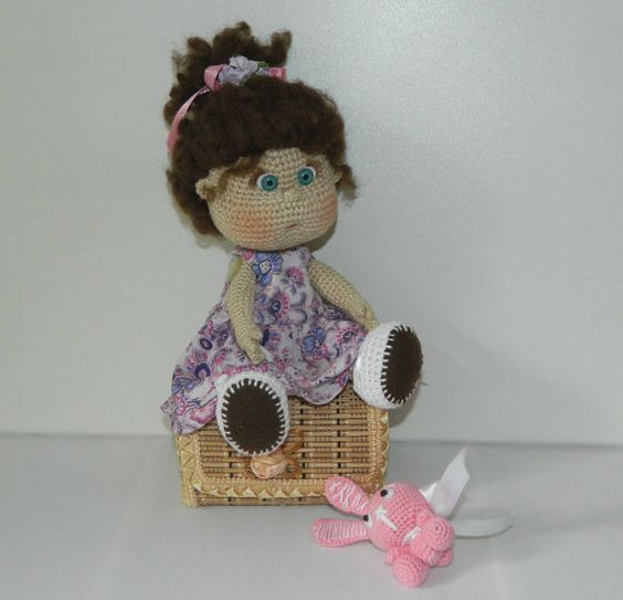 Crochet art doll with bunny toy. Collectible doll. от UAmadeForYou