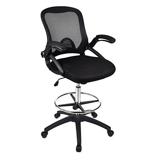 Home Office Drafting Chair Brown Leather Swivel Lumbar Support Ergonomic Mesh Back Arm Rest Chrome Foot Rest Sgs Gas Li Drafting Chair Tall Office Chairs Chair