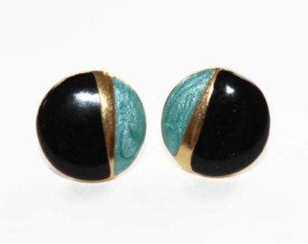 Black, Gold and Blue Earrings - Black Enamel Earrings - Black and Blue Enamel Earrings