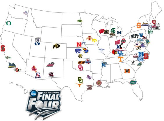 MAP Locations travel distances for 2014 NCAA Tournament teams – Maps Travel Distance