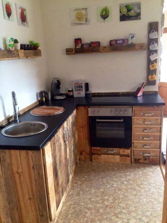 Küchenmöbel aus aufbereiteten #Europaletten - küchen billig gebraucht