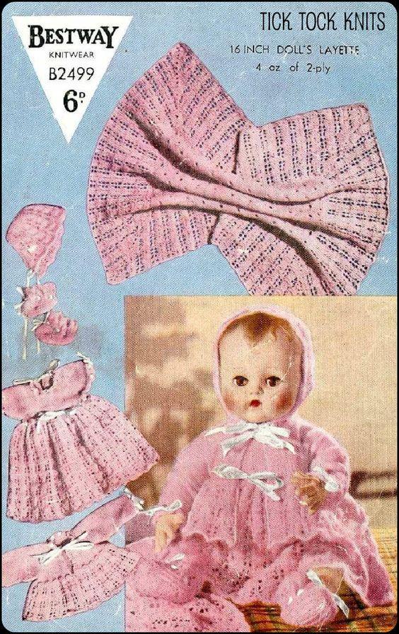 "No.19 PDF Vintage Knitting Pattern For 16"" Dolls - Dress, Matinee Coat, Blanket, Bonnet, Bootees, Vest - Bestway B2499 - Instant Download"