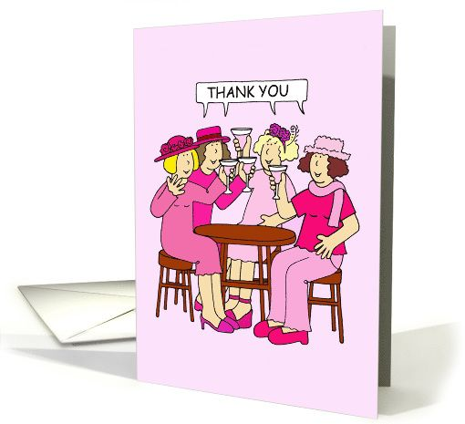 Ladies in pink, Thank you for your support, breast cancer fundraisers. card