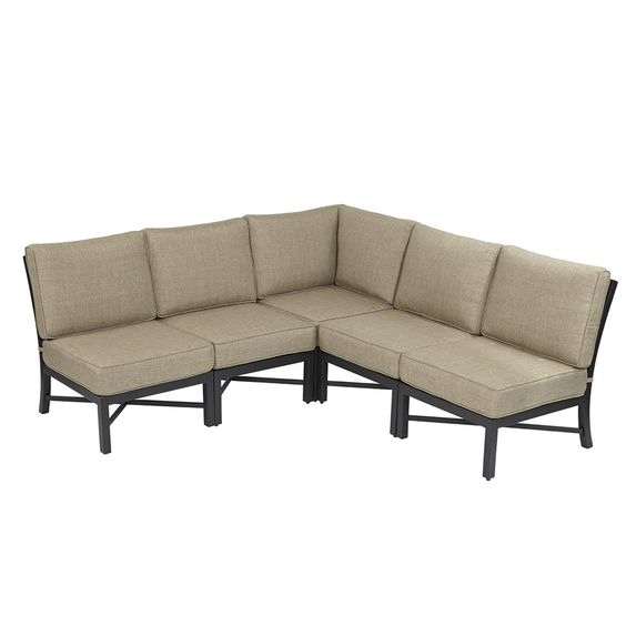 Outdoor Sectional Sofa Lowes: Garden Treasures Palm City 5-Piece Steel Patio